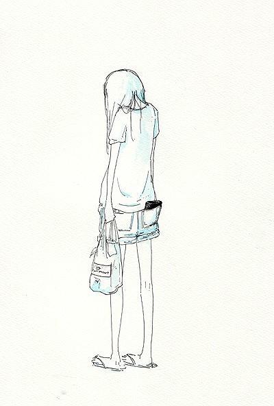 伤感女孩唯美的筒笔画图片
