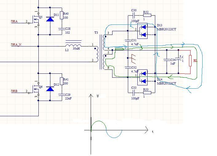 这是半桥逆变电路的一部分,这是带中心抽头的变压器么
