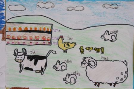 小学4年级英语手抄报《我的农场》怎么画?
