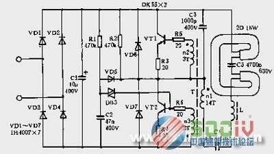 日光灯yq-t8电子镇流器电路图