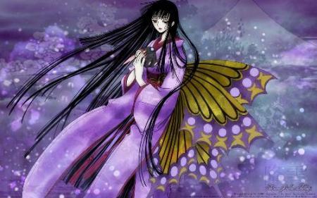求长有蝴蝶翅膀的动漫少女图片