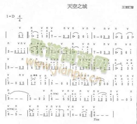 请问谁可以把小提琴天空之城的五线谱翻译成简谱啊,急需!图片