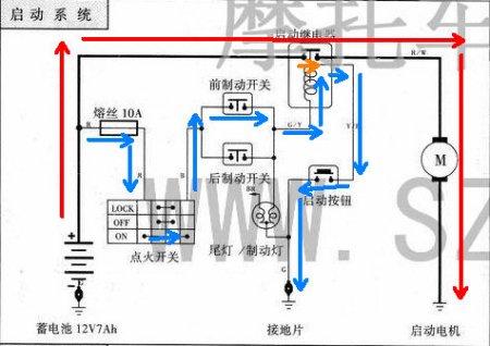 摩托车 电启动开关 组合连接 图解