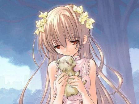 动漫女孩抱着狗哭的图片越伤感越好.