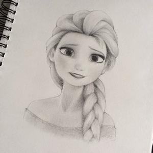冰雪奇缘爱莎安娜的铅笔画