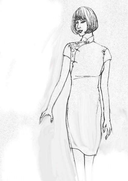 穿旗袍的女子怎么画 手绘图 简单一点儿