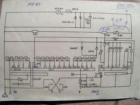 谁有mf47万用表电路图和教程?