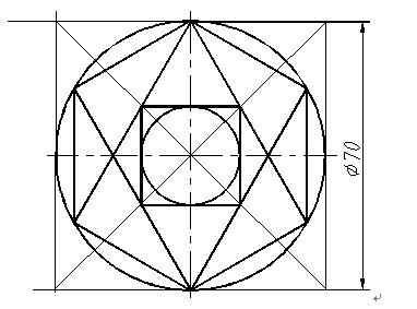 得出一个四方形 连接这个正方形作两条对角线,交六边形四条顶点连线为图片