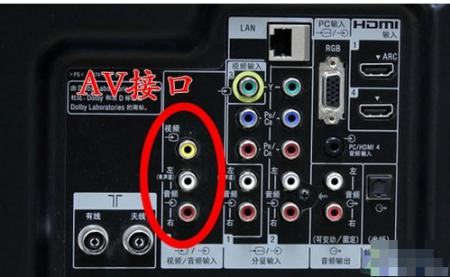 1,准备一条av线,一头插入电视机的av输出接口,只需插红白两个插头