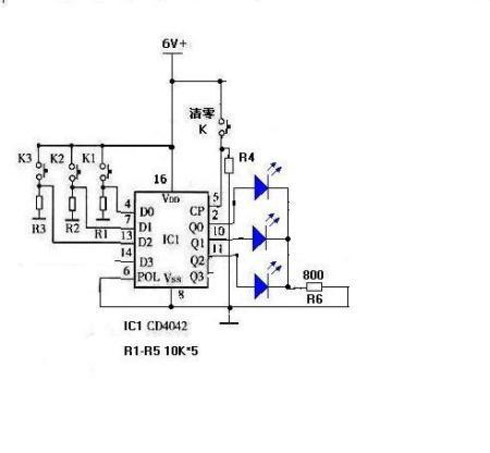 三人抢答器逻辑电路图.(要求:每个人操纵一个微动开关