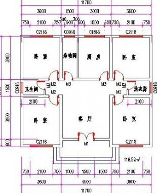 求农村四间平房平面设计图