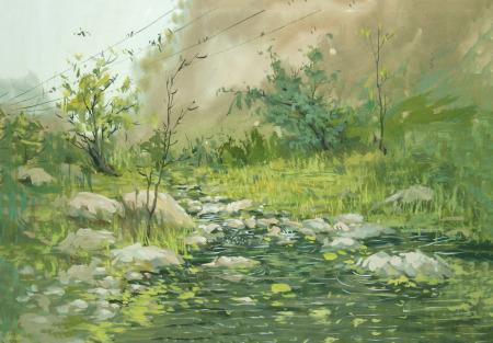 水粉颜料用于水粉画,如风景画,头像,景物