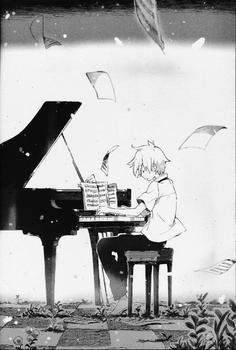 弹钢琴的动漫男生图片