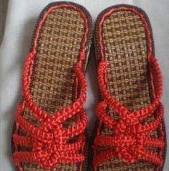 菠萝花中国结凉拖鞋的编织方法