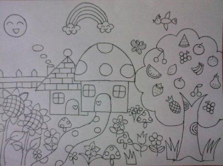 怎么画古诗《春日》 儿童画图片