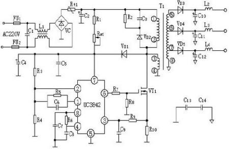 uc3842bl 引脚电路图