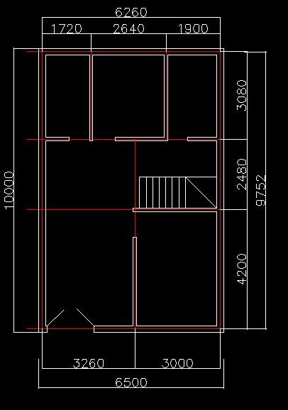 农村房屋设计图 2室 1厅1 厕所 1阳台 6.5*10平方 要简约大方图片