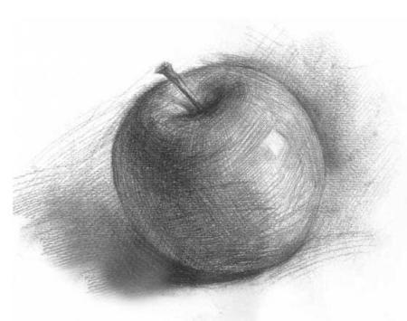 素描苹果窝的地方怎么画?求方法
