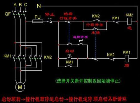 跪求2个限位开关控制电机正反转的接线图