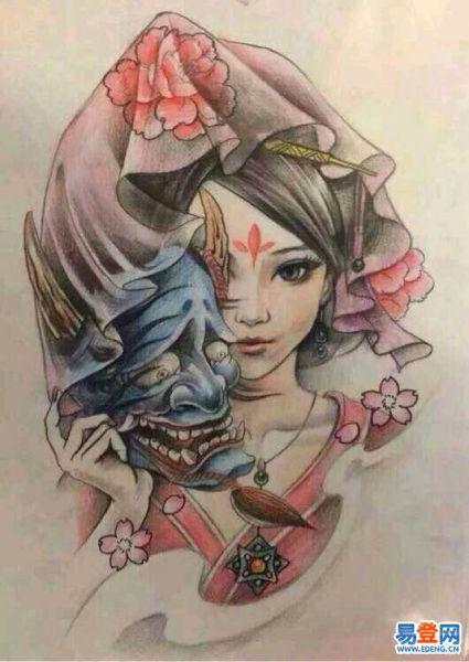 求这张艺妓 纹身 手稿 大图高清全彩色 黑白都行 没有图片