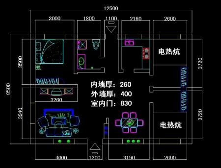 求农村瓦房设计图 12.5米乘8.5米 三个卧室一个客厅 还有厨房 卫生间图片