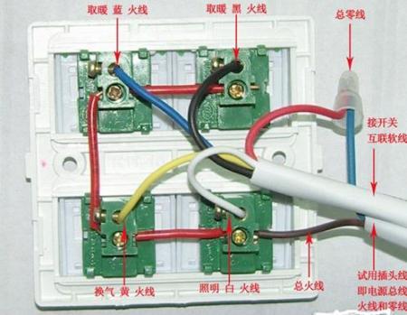 解决方案1: 风暖浴霸开关接线图:      想象力,别把电表烧了,并联