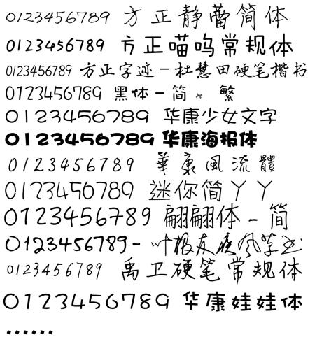 求数字是手写体的字体下载图片