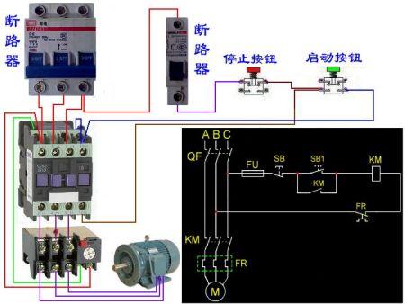 线圈的接触器和2个按钮开关的事物接线图可以加380v转36v变压器控制吗