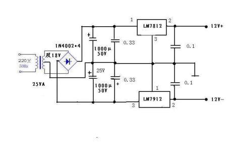 本人想设计一直流稳压电源,输入220v交流,输出为正负12v,电流为0.5a.