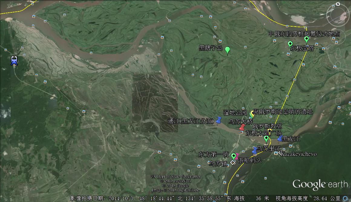黑瞎子岛旅游区卫星地图图片