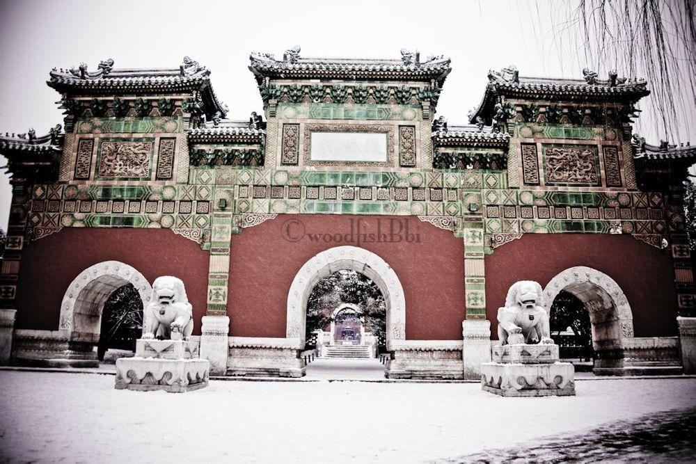 北京,雪后的北海公园.是日,农历腊月二十三,中国北方地区的小年.图片