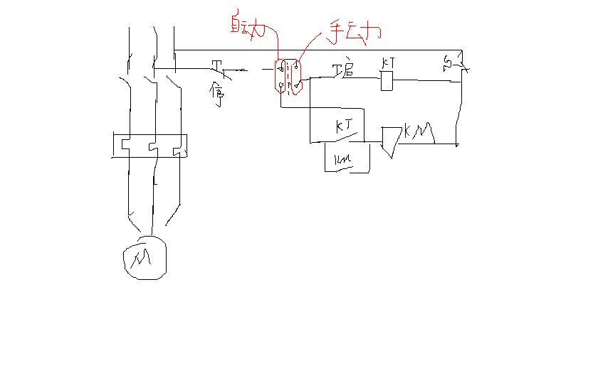 电机启动电路中如何增加手动自动旋转按钮