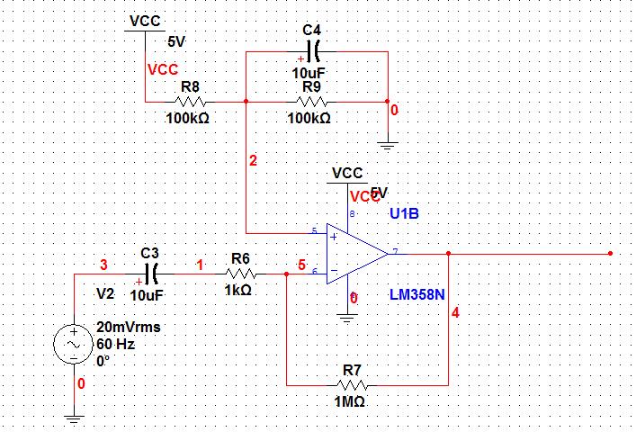 lm358做小信号反向放大电路, 5v供电,输出没有波形,一直是3v左右的