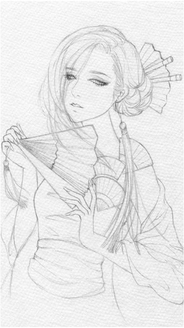 古装美女简笔素描画(简单,图片,适合入门)