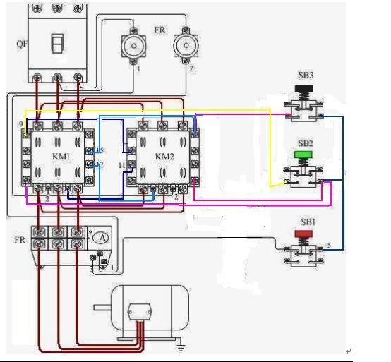 三相电动机使用交流接触带热继电器作双重联锁正反转接线图怎样看