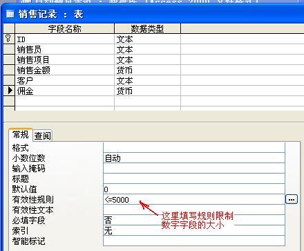 access数据库表如何限制数字类型的字段大小图片