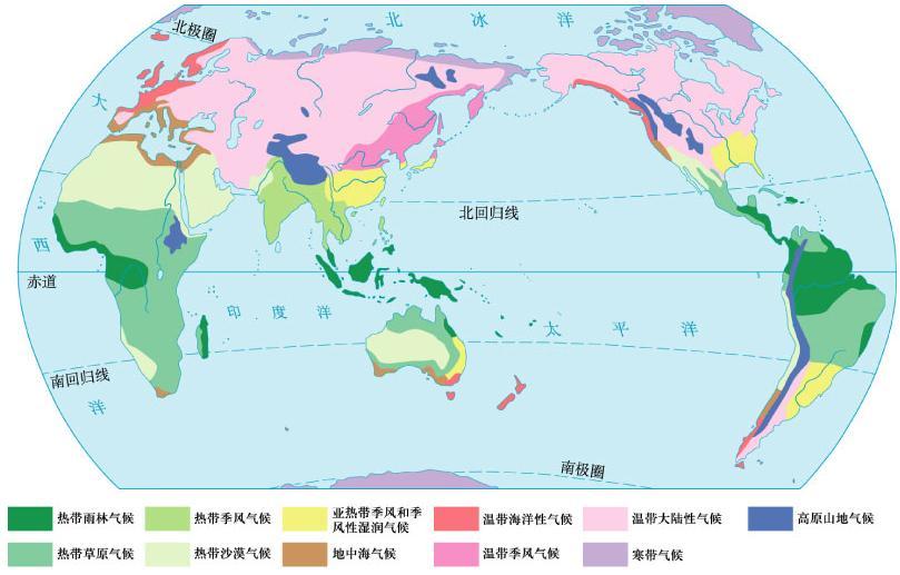 南回归线穿过的大陆西部分布着什么气候