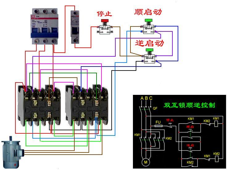 求按钮联锁正反转控制电路图 和接线图 接触器双重联锁电路图和接线