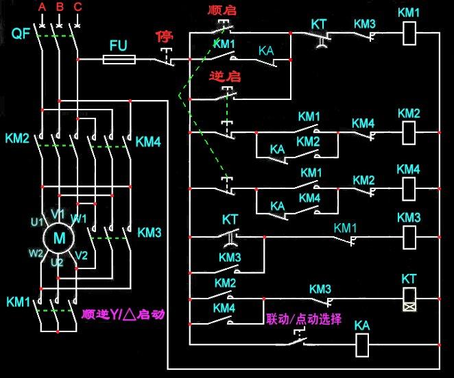 电机星三角启动正反转,正反点动电路图