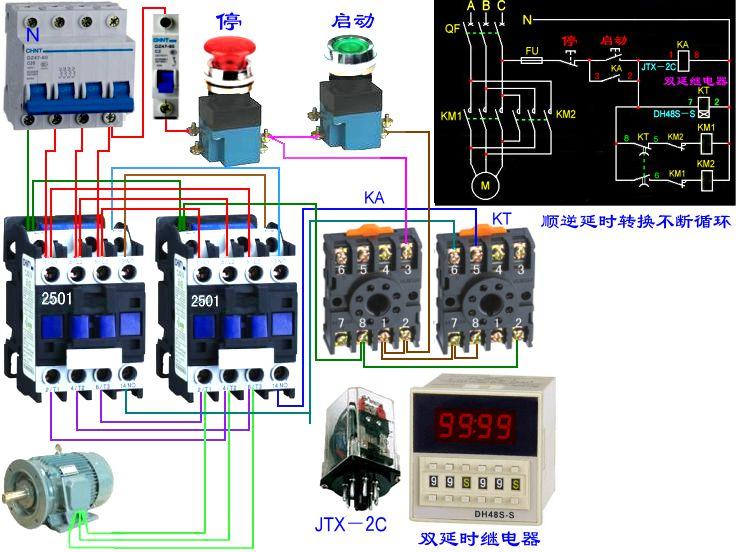 如何利用定时器,接触器限控制交流电机的正反转和停止