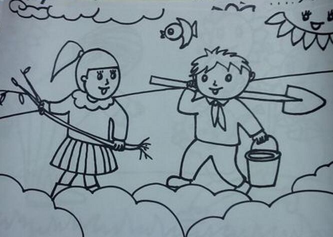两个小朋友在一起植树简笔画怎么画