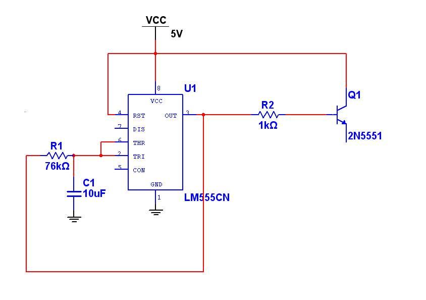 采用555输出1hz的方波电路