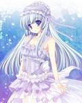 求海蓝色头发,冰蓝色眼睛的动漫少女图片照片大小最好