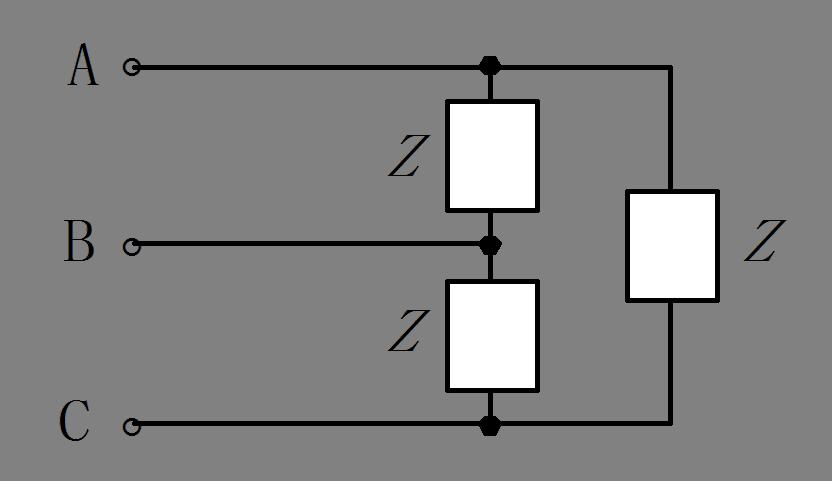 图示对称三相电路中,已知电源线电压ul=380v,负载功率