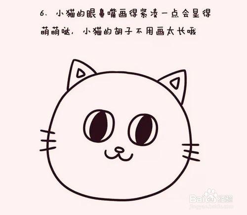 小猫的眼鼻嘴画得紧凑一点会显得萌萌哒,小猫的胡子不用画太长哦