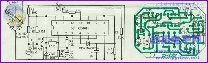 上图是一款声控灯头的电路