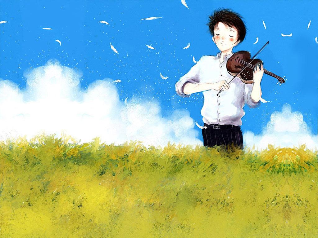 安静唯美的小提琴图片