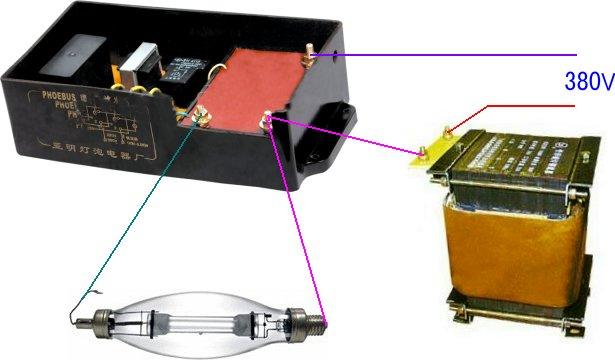 展开全部 接线示意图:电源l1接镇流器后,再接触发器2端,触发器2接镝灯