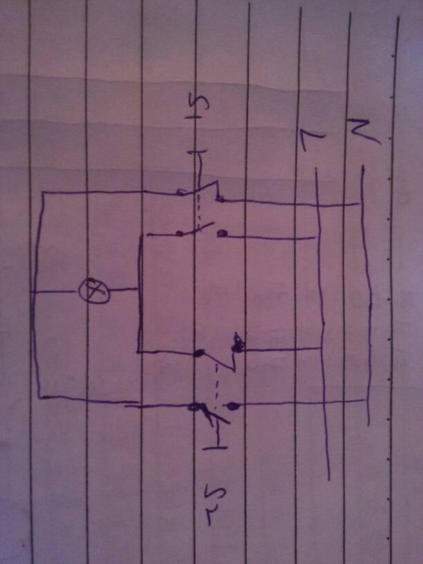 二个开关控制一个灯泡的接线图