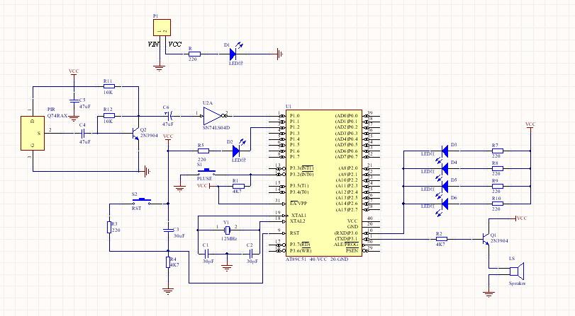 要求中添加了一个555定时器产生800mhz的方波   ,一个发送和一个